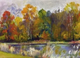 #70 5 x7 Golden Foliage by the Pond_1663B