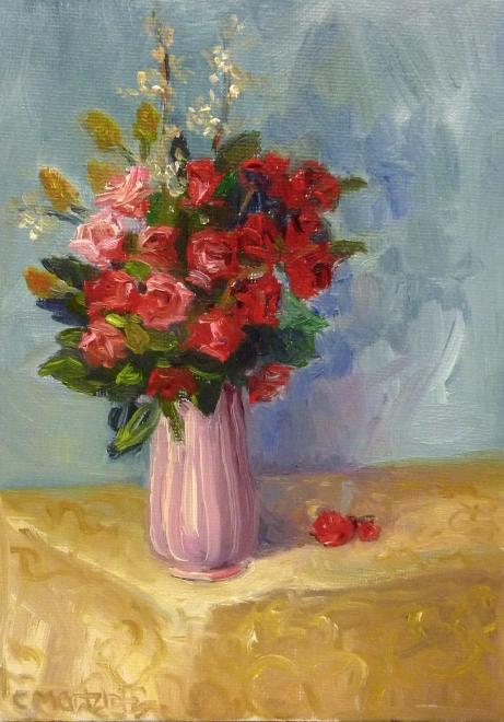 #139 Roses Pink Vase